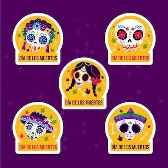 Collection d'étiquettes de vente plat dia de muertos