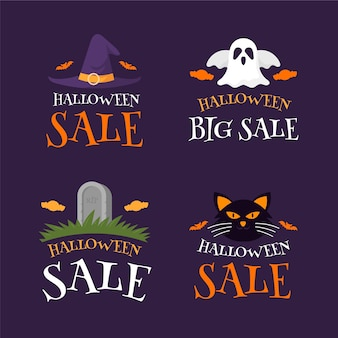 Collection d'étiquettes de vente plat halloween
