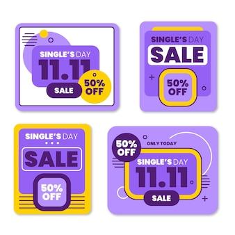 Collection d'étiquettes de vente à plat