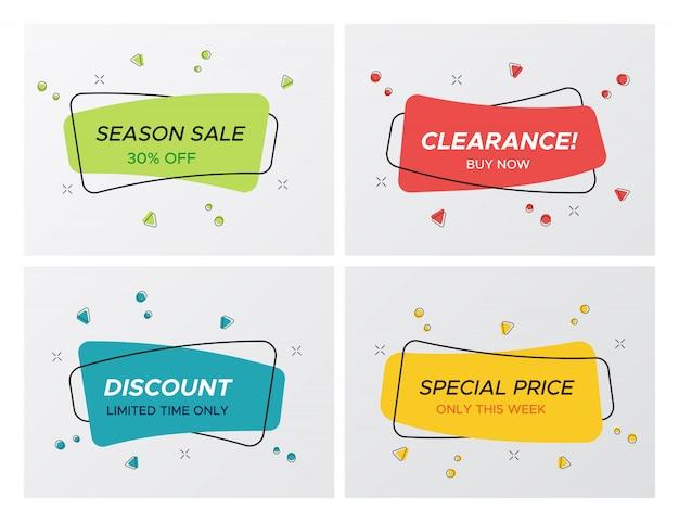 Collection d'étiquettes de vente promo rectangle blast confettis