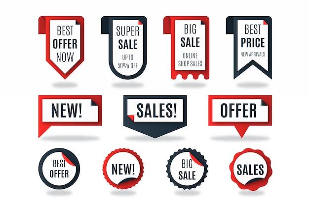 Collection d'étiquettes de vente réaliste