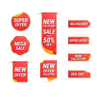 Collection d'étiquettes de vente réalistes