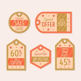 Collection d'étiquettes de vente à la recherche vintage