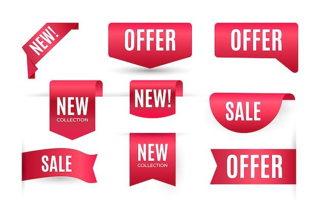 Collection d'étiquettes de vente rouge réaliste