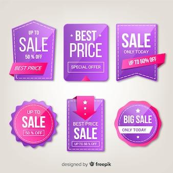 Collection d'étiquettes de vente de style réaliste