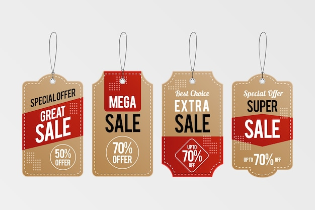 Collection d'étiquettes de vente suspendues réalistes