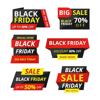 Collection d'étiquettes de vente de vendredi noir plat