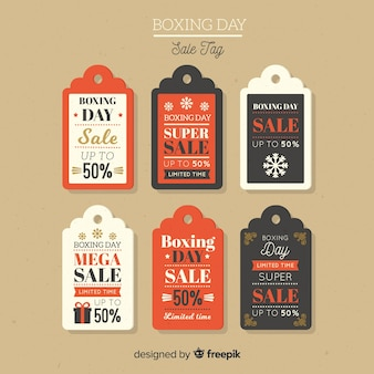 Collection d'étiquettes vintage boxing day sale