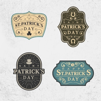 Collection d'étiquettes vintage saint patrick's day