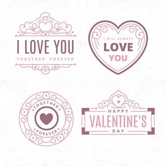 Collection d'étiquettes vintage de la saint-valentin