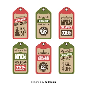 Collection d'étiquettes vintage de vente de noël