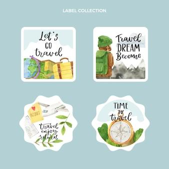 Collection d'étiquettes de voyage aquarelle