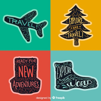 Collection d'étiquettes de voyage design plat