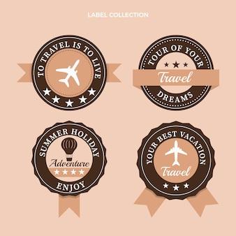 Collection d'étiquettes de voyage plat