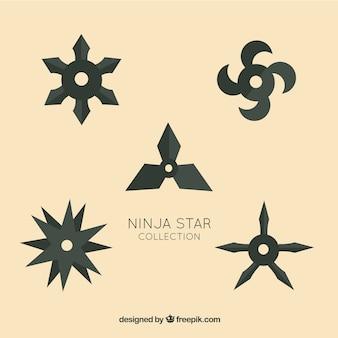 Collection d'étoile ninja traditionnelle avec un design plat