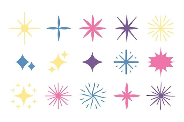 Collection d'étoiles étincelantes dessinées à la main