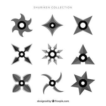 Collection d'étoiles ninja avec un design plat
