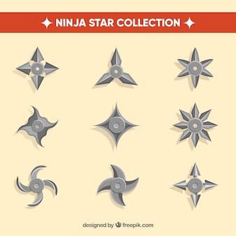 Collection d'étoiles ninja traditionnelle avec un design plat