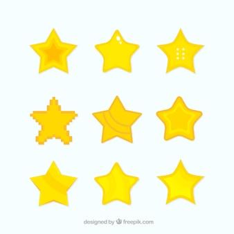 Collection d'étoiles plates pour les jeux