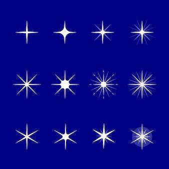 Collection d'étoiles scintillantes plates
