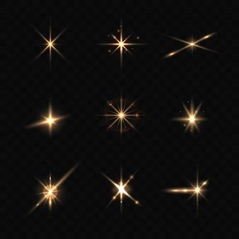 Collection d'étoiles scintillantes réalistes