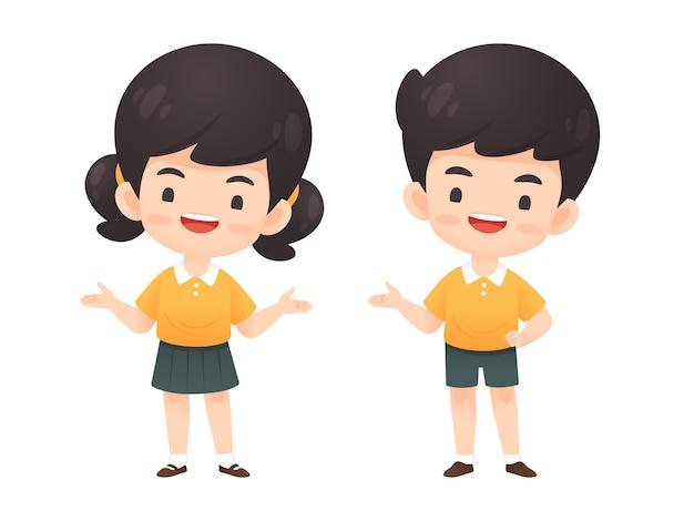 Collection d'étudiant mignon garçon et fille