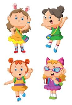 La collection de l'étudiante de filles dans l'expression heureuse avec les différentes poses