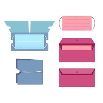 Collection d'étuis de rangement pour masques plats
