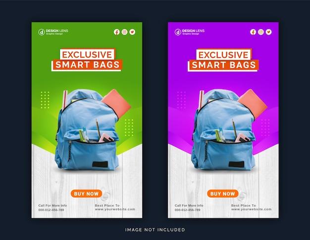 Collection exclusive de sacs intelligents modèle de publication sur les médias sociaux pour instagram story ad