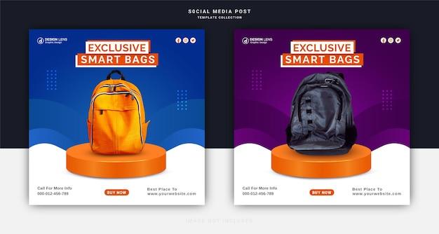 Collection exclusive de sacs intelligents numériques bannière instagram modèle de publication sur les médias sociaux
