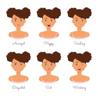 Collection d'expressions de dessin animé d'émotions de belle femme
