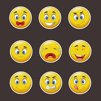 Collection d'expressions de dessins animés.