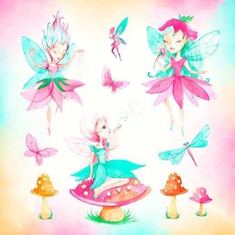 Collection faeries aquarelle