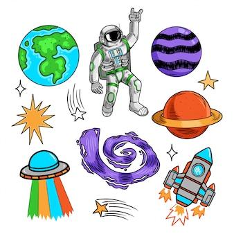 Collection de faisceaux spatiaux avec des planètes de la terre étoiles astronaute astronaute ufo fusée galaxie météorite.