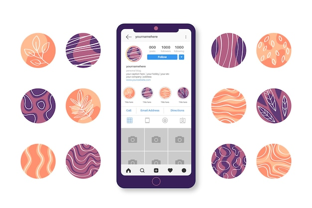 Collection de faits saillants instagram dessinés à la main abstraite