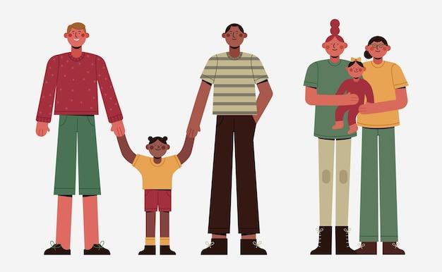 Collection familiale de jour de fierté plate