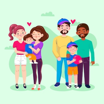Collection de famille de jour de fierté de dessin animé