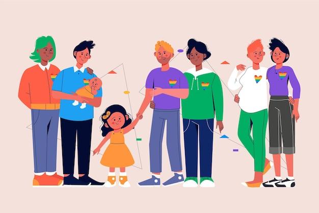 Collection de famille de jour de fierté dessiné à la main