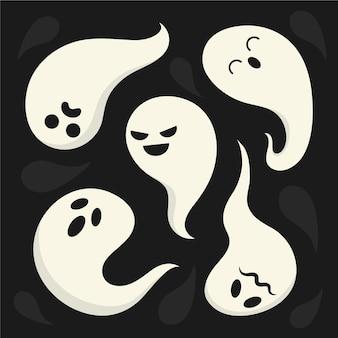 Collection de fantômes avec différentes émotions