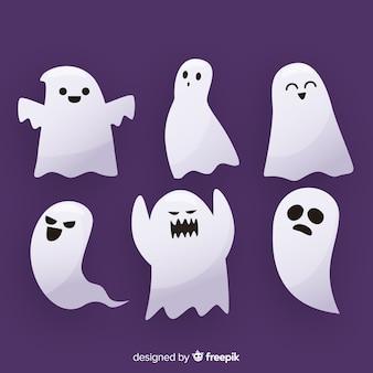 Collection de fantômes d'expression de visage plat halloween