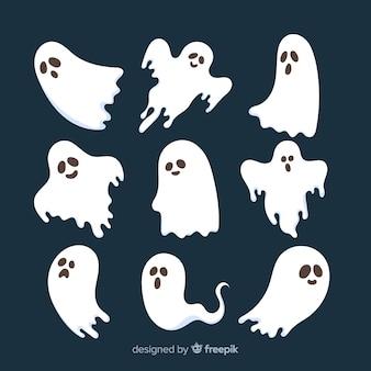 Collection de fantômes d'halloween au design plat