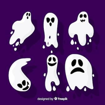 Collection de fantômes halloween design plat