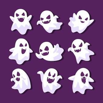 Collection de fantômes d'halloween design plat