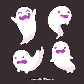 Collection de fantômes halloween dessinés à la main