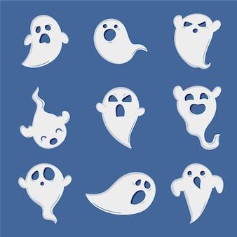 Collection de fantômes d'halloween dessinés à la main