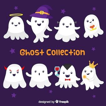 Collection de fantômes d'halloween mignons dans différentes poses