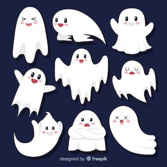 Collection de fantômes d'halloween plat dessin animé mignon