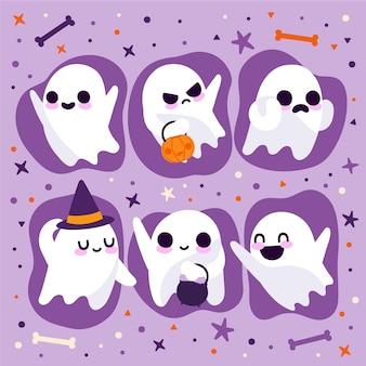 Collection de fantômes d'halloween plats dessinés à la main