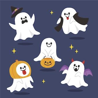 Collection de fantômes d'halloween plats