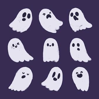 Collection de fantômes mignons dessinés à la main.